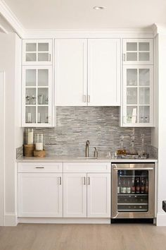 Built In Bar With Gray Mosaic Backsplash Tiles   Transitional   Dining Room