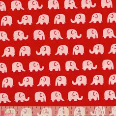 Craft Cotton - Elephants On Red - cotton fabric
