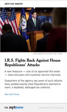 NYT Now: I.R.S. Fights Back Against House Republicans' Attacks  http://nyti.ms/1pmZgWc