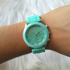 🌟Comfy Minty Blue Silicone Geneva Watch🌟 It's so comfortable! The strap moves and stretches with your wrist and the strap is made for any size wrist. I tried my best to capture the color in my picture, but the color may be very slightly off due to lighting! Perfect for spring, summer, and all year round!   Price firm unless bundled and I definitely encourage bundling! 😊 Accessories Watches