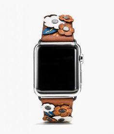 Saddle Leather Apple Watch Strap with Tea Rose Appliqué | Coach | www.coach.com
