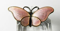 Norway H C Ostrem OXO 925s Sterling Pink Enamel Guilloche Butterfly brooch