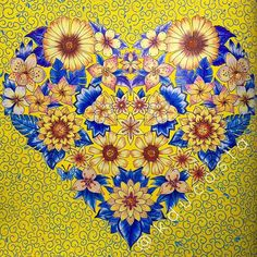 The  of a Magical Jungle.  #heart #yellowheart #blueandyellow #artoftheday #adultcoloringbook #adultcoloring #becreative #coloringbook #drawing #enchatedforest #flowers #yellowflowers #johannabasford #livrodecolorir #magicaljungle #secretgarden #lostocean #blueleaf #doodle #zentangle