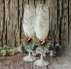 Rustic Wedding Champagne Glasses Winter By LaivaArt