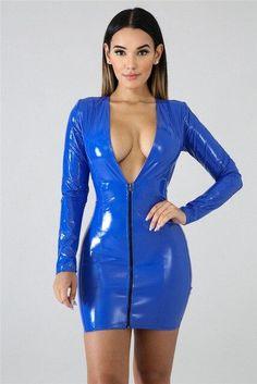 Short Mini Dress, Short Dresses, Dress Long, Sheath Dress, Bodycon Dress, Vinyl Dress, Deep V Neck Dress, Latex Dress, Latex Wear