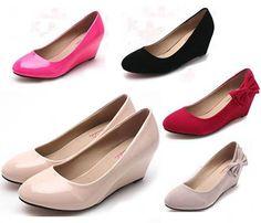 Classy Solid Elegant Women Shoes Wedge Round Toe Kitten Heels Dress Slide Pumps | eBay