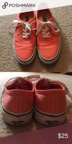 Coral vans Coral vans, excellent condition worn maybe 1 time, they are a children's size 3 however they do fit a women's size 5 1/2 /6. Vans Shoes Sneakers