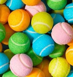 coloured #tennis balls shaped chewing gum