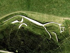 """The Uffington White Horse is a stylized prehistoric hill carving formed from trenches filled with chalk. It is situated on the slopes of White Horse Hill in the English parish of Uffington. Dating back 3,000 years, to the Bronze Age, the horse is thought to represent a tribal symbol perhaps connected with the builders of Uffington Castle. An organization, """"Save the Unicorn at Ufington,"""" with more than 1000 members claim the white chalk figure was originally meant to depict the mythical…"""