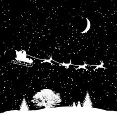 Santa Claus Sled Reindeer Gif