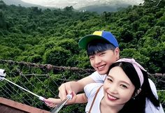 Sungjae x Joy We Got Married when Sungjae tried to distract joy from getting afraid of heights by taking a selca Sungjae And Joy, Sungjae Btob, Im Hyunsik, We Got Married Couples, We Get Married, Ulzzang Couple, Ulzzang Girl, Kpop Couples, Cute Couples