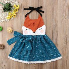 Little Starry Fox Dress - Mode für Kinder - Baby Outfits, Little Girl Dresses, Kids Outfits, Dress Girl, Dresses For Girls, Cute Baby Dresses, Pretty Dresses, Dress Outfits, Sewing For Kids