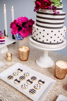 Black and white polka dot wedding cake, black and white stripes