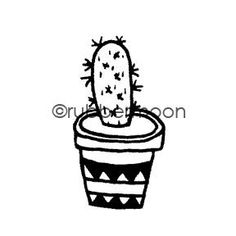 "Maxi Moon | MM7089D - Prickly Pear - Rubber Art Stamp image size approx. 3/4"" w x 1 1/4"" h   Sample artwork by Maxi Moon"