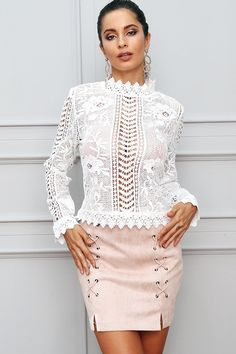 Glamaker sexy white lace blouse shirt Women tops elegant hollow out blouse Summer tops female blouse long sleeve blusas Crochet Long Sleeve Tops, White Crochet Top, White Lace Blouse, Mode Chic, Long Blouse, Colourful Outfits, Lace Tops, Blouse Designs, Blouses For Women