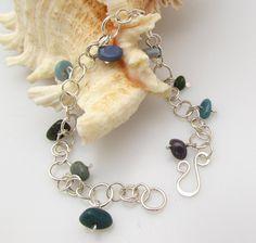 Sterling silver and Leland bluestone silver bracelet 9011 by rwilberg on Etsy