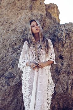 Sexy boho chic lace mykonos kaftan for a modern hippie allure. For the BEST Bohemian fashion trends for 2015 FOLLOW http://www.pinterest.com/happygolicky/the-best-boho-chic-fashion-bohemian-jewelry-gypsy-/ now.