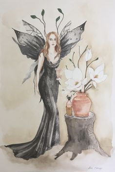 "Original watercolour #painting of gorgeous #fairy with #black dress and #wings drinking ""wine #art #deenoney"