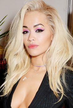 Rita Ora rocks neon eye makeup // #Eyes #Makeup