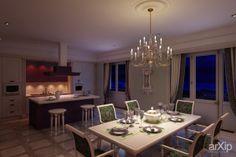 Гостиная-кухня и столовая в классике.: зd визуализация, интерьер #3dvisualization #interior arXip.com