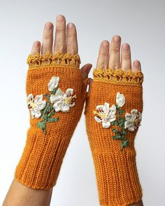 Knitted Fingerless Gloves, Lily, Yellow, Clothing And Accessories, Accessories, Gloves & Mittens, Gift Ideas, For Her, Winter Accessories,