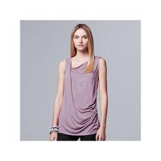 Petite Simply Vera Vera Wang Draped Tank, Women's, Size: Xs Petite, Med Purple