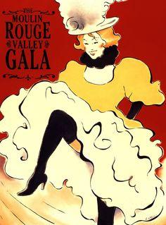 The Moulin Rouge Valley Gala - Vince McIndoe - Debut Art Art Nouveau Poster, Poster Art, Vintage French Posters, Vintage Art, Le Moulin Rouge Paris, Art Deco Illustration, French Illustration, Henri De Toulouse Lautrec, Vintage Burlesque