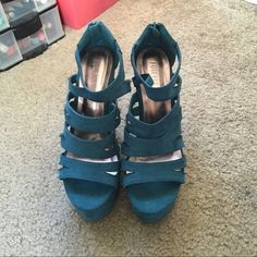 Cute Forever 21 teal pumps :) Worn a handful of times, no scrapes or real signs of wear besides little frays on the edges and bottom. Very well taken care of! Forever 21 Shoes Platforms