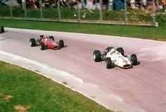1967 Italian GP, Monza : Bruce McLaren (McLaren BRM M5A) following the winner John Surtees (Honda RA300). (ph: f1fanatic.co.uk)