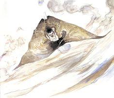Final Fantasy VI - Death Gaze Concept Art - Yoshitaka Amano