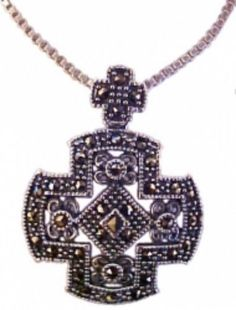 Large Christian Cross Necklace With Marcasites -Sterling Silver   $79.99