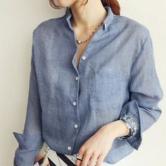 Oxford Blues Linen Blouse |                             Oxford Blues Linen Blouse -Linen Oxford style shirt.Fabric Type: Broadcl | Primary View | Sassy Posh