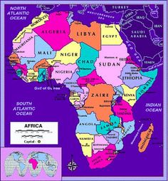 Africa Map Countries And Capitals | Map of the African continent