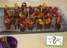 "Critter Birthday Party Snack Bar Sign - Created pudding cups with cookie crumbs and gummy worms as ""Worm Dirt"""