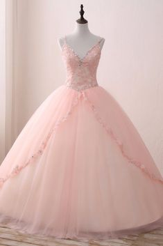 Dress lace Blush Pink Tulle V neck Sweet 16 Prom Dress, Lace Long Prom Gown Blush Pink Tulle V-Ausschnitt Sweet 16 Abendkleid, Lace Long Prom Gown Pretty Quinceanera Dresses, Pink Prom Dresses, Sweet 16 Dresses, Spring Dresses, Ball Dresses, Trendy Dresses, Pink Dress, Lace Dress, Pink Tulle