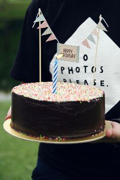 Washi Tape Cake Bunting via The Lazy Afternoon Great idea