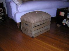 Tufted Burlap Wood Crate Paris Footstool Ottoman Seat Storage #ArtsCraftsMissionStyle