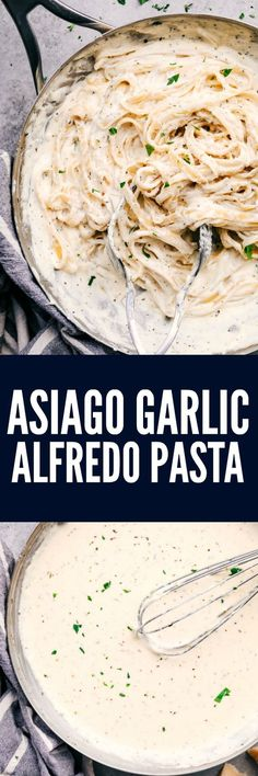 Asiago Garlic Alfredo Pasta gets tossed in the best creamy and rich asiago garlic alfredo! This is a meal the entire family will go crazy for!