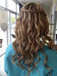 Curly waterfall braid.