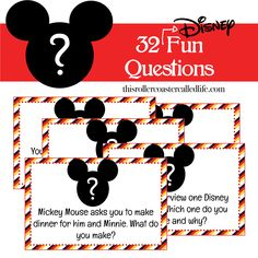 "This pack of 32 fun Disney ""What Would You Do?"" style questions would be great as a family conversation starter on a road trip, or it would also make a great Fish Extender (FE) gift in a FE gift exchange."