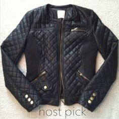 HP Zara Faux Leather Quilted Jacket LIKE NEW Zara Faux Leather Quilted Jacket // Size: Medium // Condition: LIKE NEW // I ship same day from pet/smoke-free home // ⚡️ Rock & Roll ⚡️ Zara Jackets & Coats