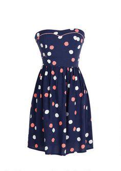 Strapless allover polka dot print tube dress. Zipper and smocking at back for better fit.