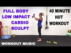 40 Minute Full Body, Low Impact Cardio + Sculpt + Weights HIIT Workout, Barefoot Workout - YouTube