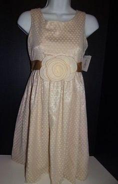 Girl's Special Occasion By Marmelatta Ivory/Gold Flocked Dot Dress Size: 14  #SpecialOccasionByMarmelatta #DressyPageantWedding