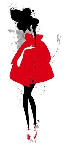 Illustration de Mode par Ennji : Silhouettes Féminines en Rouge et Noir