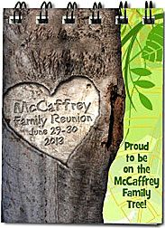 """Fun Family Reunion Favors that all members of the family can use - pocket size notebooks with your name """"carved"""" into the family tree! More family reunion favors at  http://www.photo-party-favors.com/family-reunion-favors.html"""