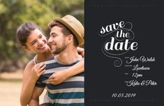 A parted Save The Date Wedding Invitation with an image of a couple, and a dark text box with white text. Save The Date, Wedding Invitations, Dating, Social Media, Couples, Couple Photos, Image, Dark, Box