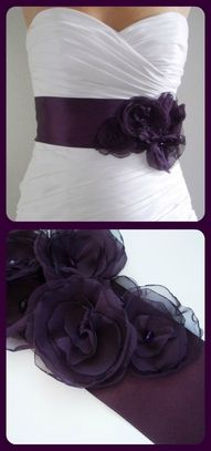 I can't imagine my wedding dress without a purple sash on it!