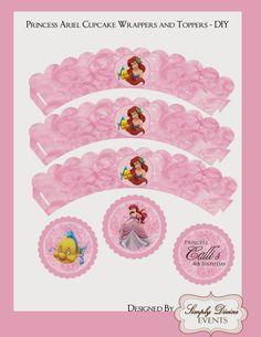 Disney Princess Ariel Cupcake Wrappes and Toppers - Digital DIY Little Mermaid Cupcakes, Little Mermaid Birthday, Little Mermaid Parties, The Little Mermaid, Princess Cupcake Toppers, Princess Cupcakes, Purple Princess Party, Oh My Fiesta, Disney Princess Ariel