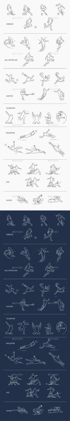 Set of Thin Line Icons of Soccer Player in Various Poses and Action.
